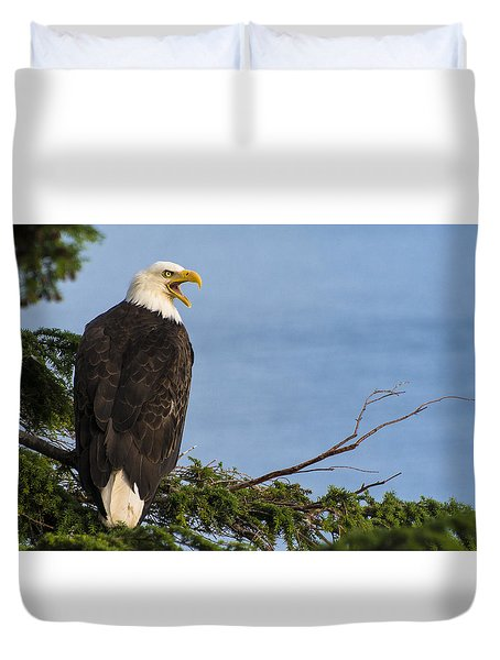 Duvet Cover featuring the photograph Hey by Gary Lengyel
