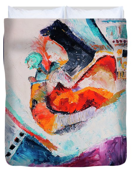 Duvet Cover featuring the painting Hey Mr. Spaceman by Stephen Anderson