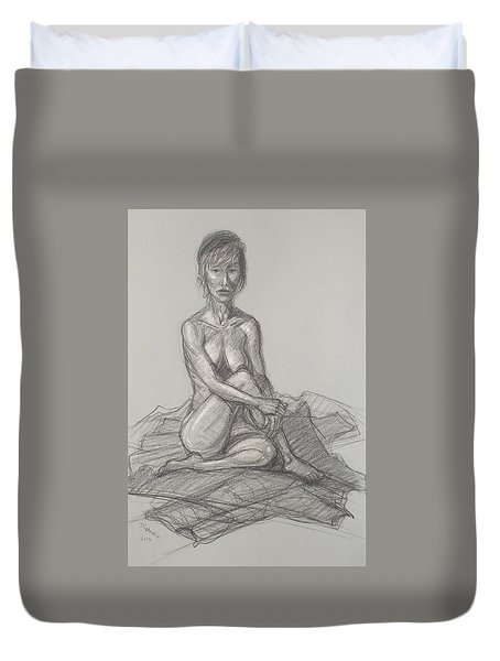 Duvet Cover featuring the drawing Hey Yong Seated by Donelli  DiMaria