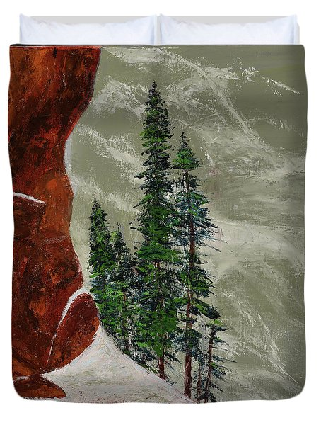 Hi Mountain Pine Trees Duvet Cover