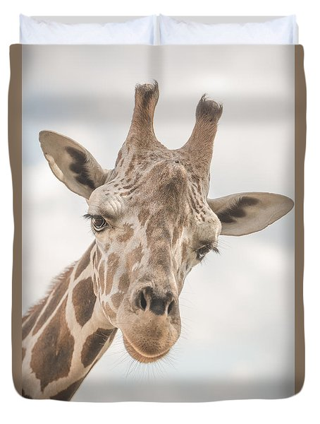 Hi There, I'm A Giraffe Duvet Cover by David Collins