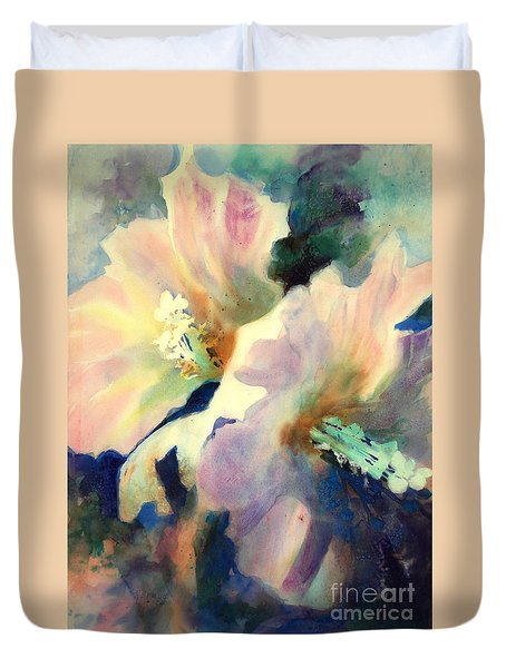Hibicus Up Close Duvet Cover by Kathy Braud