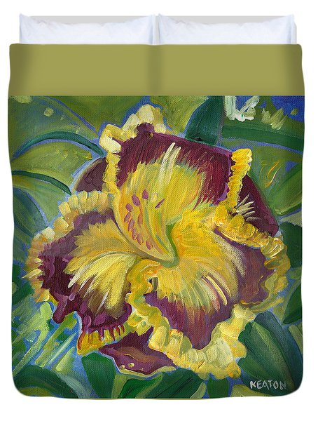 Duvet Cover featuring the painting Hibiscus 2 by John Keaton