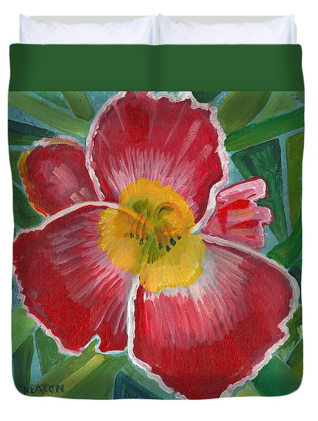 Duvet Cover featuring the painting Hibiscus 3 by John Keaton