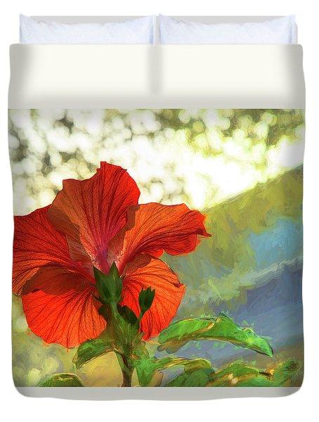 Hibiscus Aglow Duvet Cover