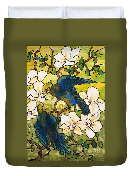 Hibiscus And Parrots Duvet Cover by Louis Comfort Tiffany