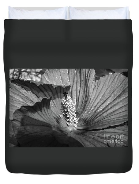 Hibiscus Black And White Duvet Cover