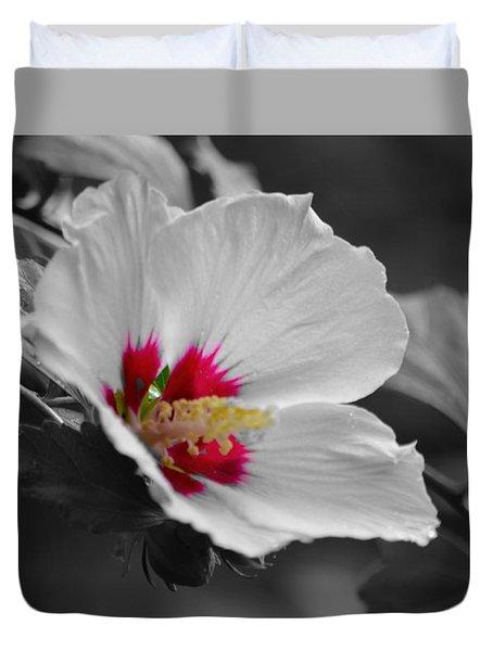 Hibiscus Bw Duvet Cover