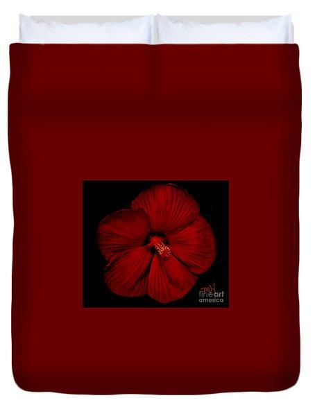 Hibiscus By Moonlight Duvet Cover by Marsha Heiken