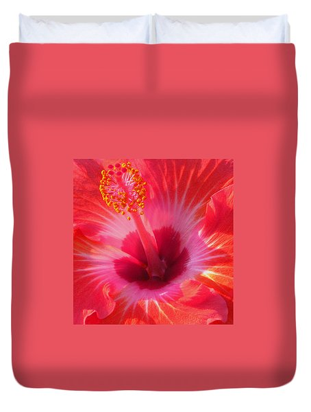 Duvet Cover featuring the photograph Hibiscus - Coral And Pink Square by Kerri Ligatich