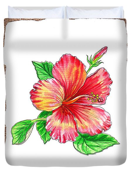 Hibiscus Flower Botanical Duvet Cover