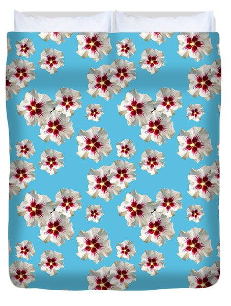 Duvet Cover featuring the mixed media Hibiscus Flower Pattern by Christina Rollo