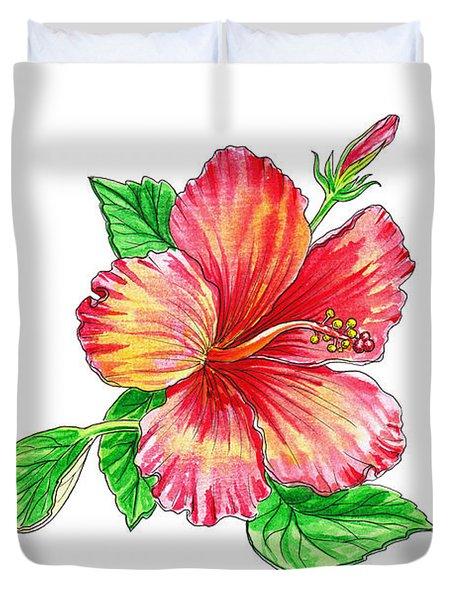 Hibiscus Flower White Background Duvet Cover