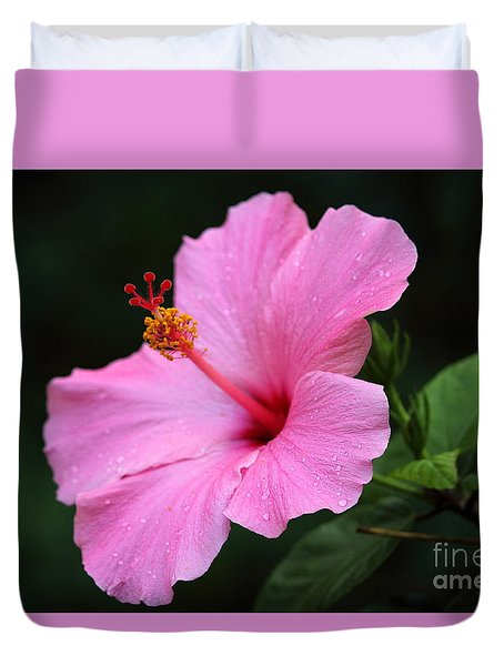 Duvet Cover featuring the photograph Hibiscus In Pink by Lisa L Silva