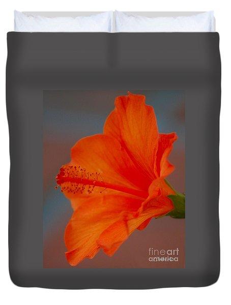 Hot Orange Hibiscus Duvet Cover