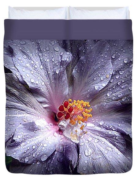 Hibiscus In The Rain Duvet Cover