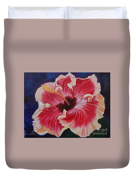 Duvet Cover featuring the painting Hibiscus by Jenny Lee