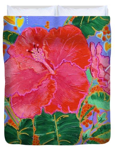 Hibiscus Motif Duvet Cover