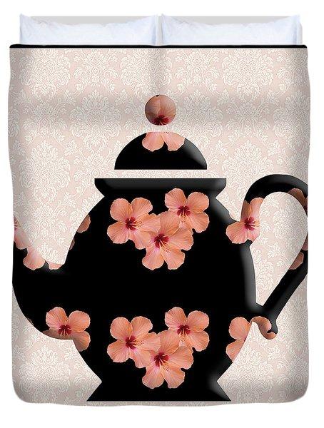 Hibiscus Pattern Teapot Duvet Cover