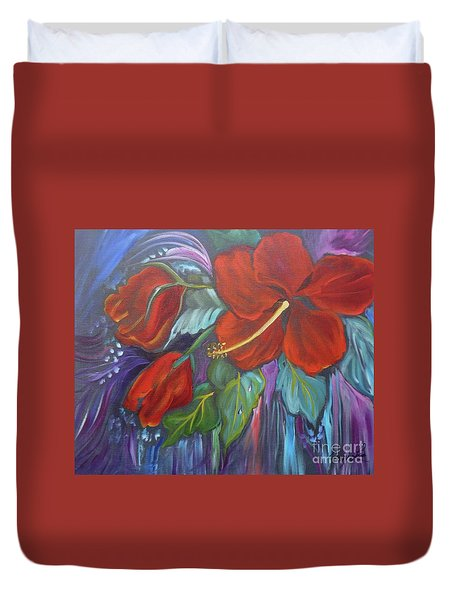 Hibiscus Whimsy Duvet Cover