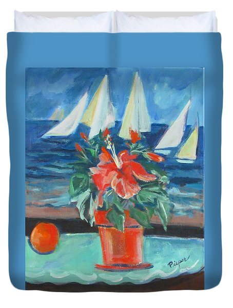 Hibiscus With An Orange And Sails For Breakfast Duvet Cover
