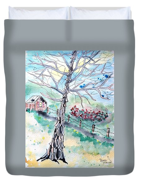 Duvet Cover featuring the painting Hickory by Denise Tomasura