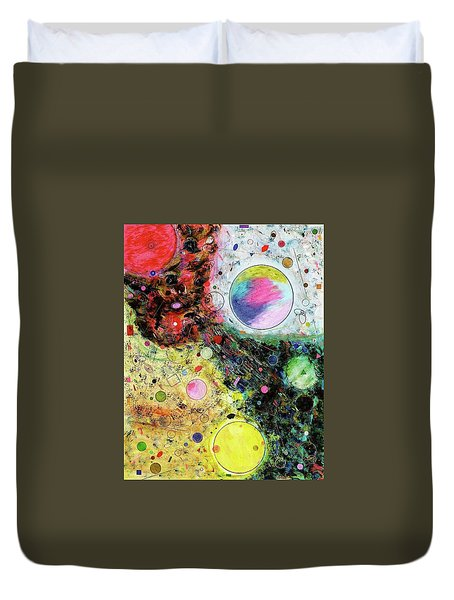Duvet Cover featuring the mixed media Hidden Aliens by Michael Lucarelli