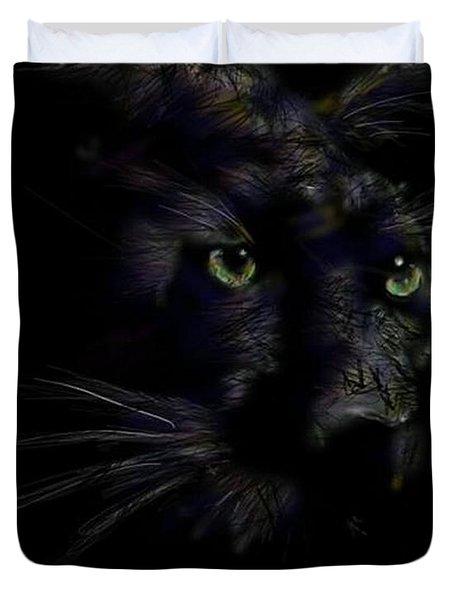 Duvet Cover featuring the digital art Hidden Cat by Darren Cannell