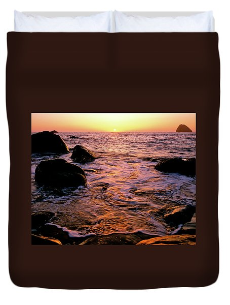 Hidden Cove Sunset Redwood National Park Duvet Cover