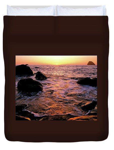 Hidden Cove Sunset Redwood National Park Duvet Cover