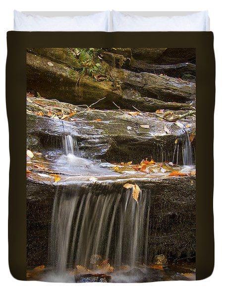 Duvet Cover featuring the photograph Hidden Falls Detail by Bob Decker