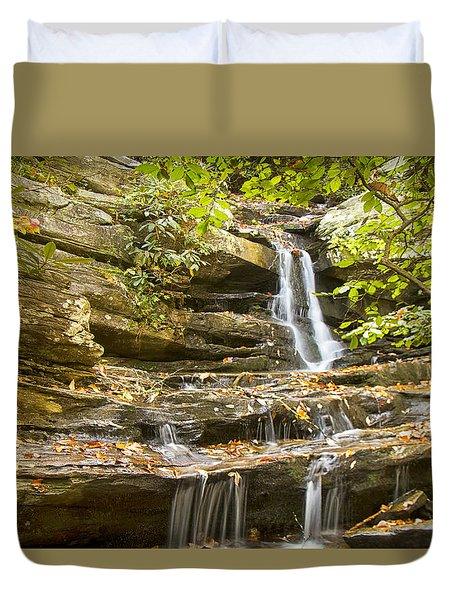 Duvet Cover featuring the photograph Hidden Falls-hanging Rock State Park by Bob Decker