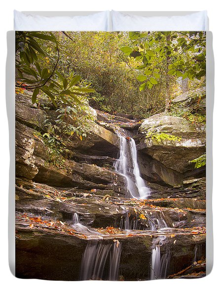 Duvet Cover featuring the photograph Hidden Falls Of Danbury, Nc by Bob Decker