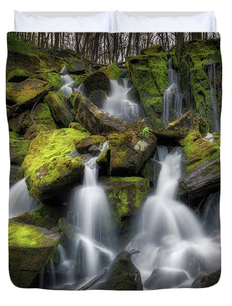 Duvet Cover featuring the photograph Hidden Mossy Falls by Bill Wakeley