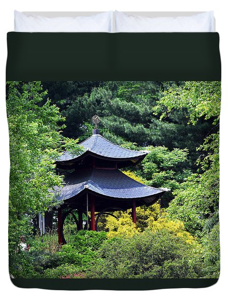Duvet Cover featuring the photograph Hidden Pagoda by Kathleen Stephens