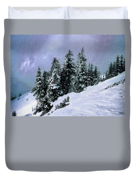 Duvet Cover featuring the photograph Hidden Peak by Jim Hill
