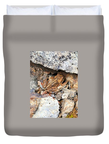 Hidden Toad Duvet Cover by Rebecca Parker