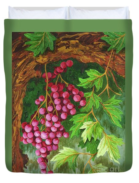 Duvet Cover featuring the painting Hidden Treasure by Katherine Young-Beck