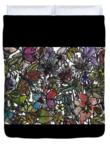 Hide And Seek In Wildflower Bushes Duvet Cover by Garima Srivastava