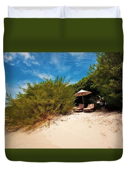 Hideaway. Maldivian Beach Duvet Cover by Jenny Rainbow