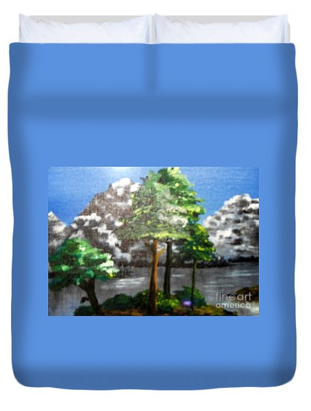 Duvet Cover featuring the painting Hideaway by Saundra Johnson