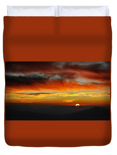 Duvet Cover featuring the photograph High Altitude Fiery Sunset by Joe Bonita