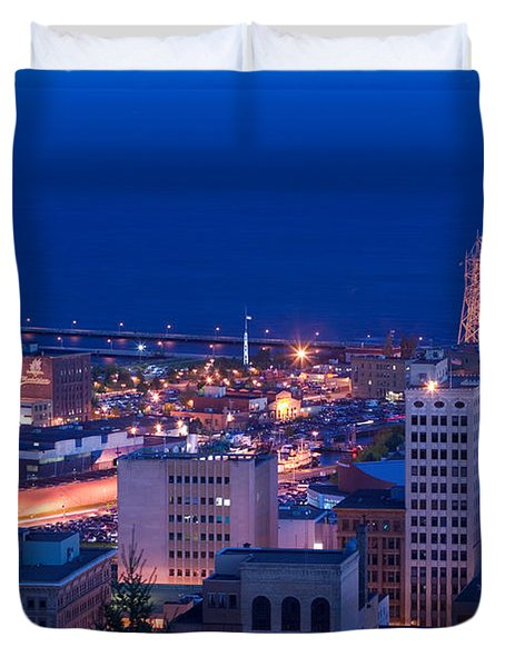 High Angle View Of A City, Canal Park Duvet Cover