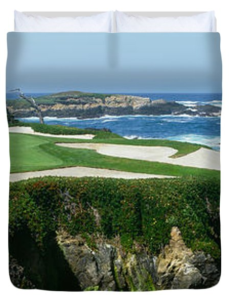 High Angle View Of A Golf Course Duvet Cover
