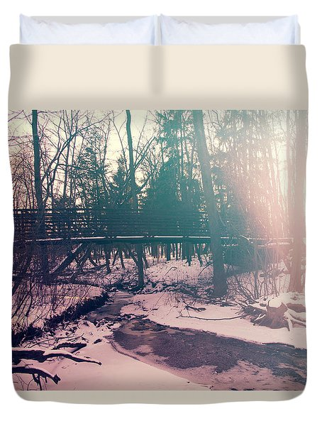 Duvet Cover featuring the photograph High Cliff Bridge by Joel Witmeyer