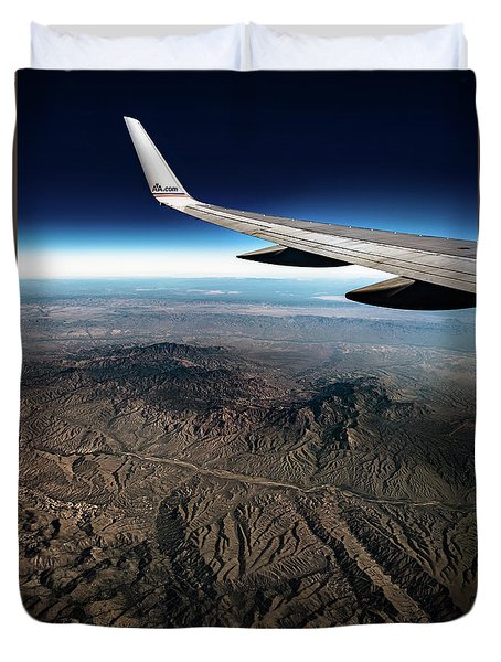 Duvet Cover featuring the photograph High Desert From High Above by T Brian Jones
