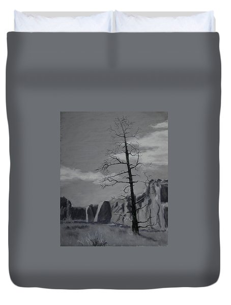 Duvet Cover featuring the painting High Desert Skeleton by Nancy Jolley