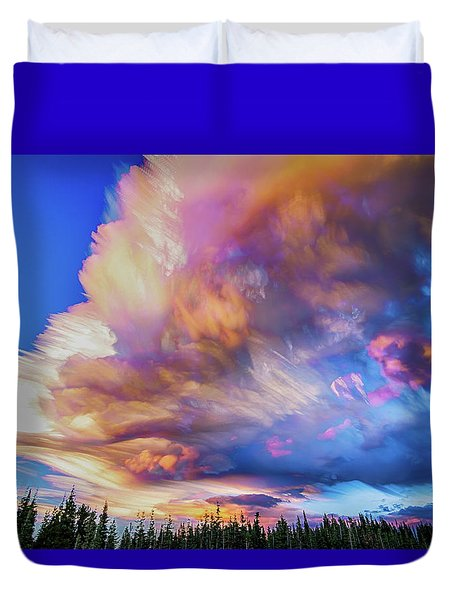 Duvet Cover featuring the photograph High Elevation Forest Sunset Sky Timed Stack by James BO Insogna