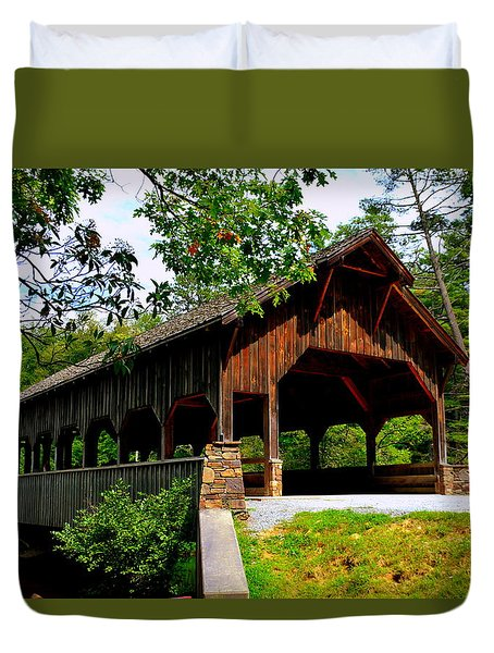 High Falls Covered Bridge Duvet Cover