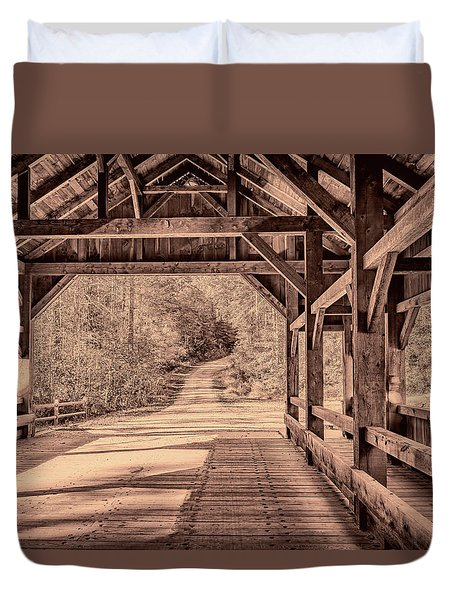 High Falls Covered Bridge Duvet Cover
